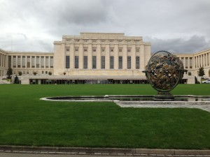 UN Geneva HQ with Celestial Sphere Woodrow Wilson Memorial